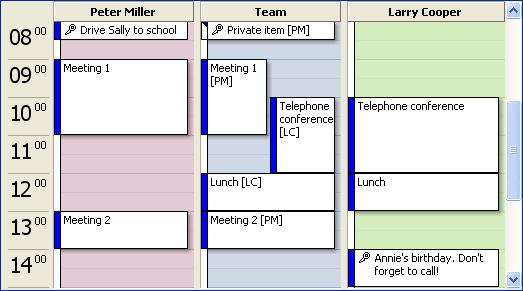 Use/synchronize the Outlook calendar in a team